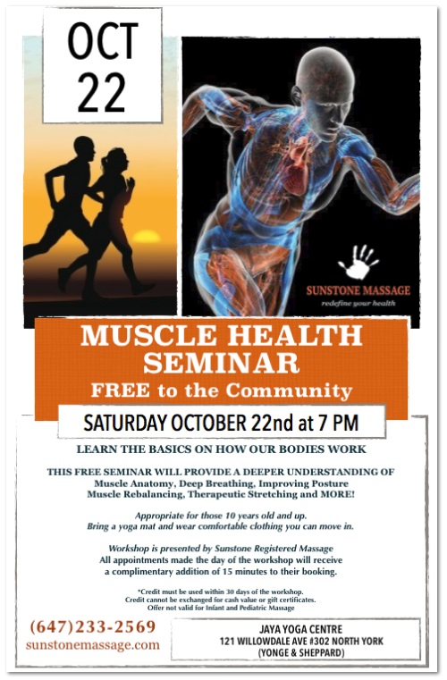 MUSCLE HEALTH SEMINAR FREE Sunstone Registered Massage
