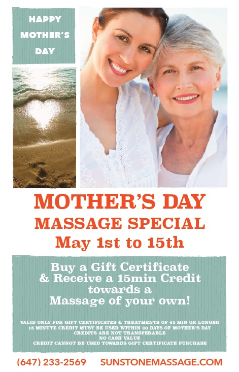 MOTHER'S DAY MASSAGE SPECIAL May 1st to 15th SunstoneMassage.com